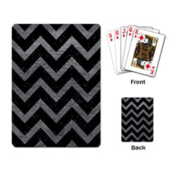 Chevron9 Black Marble & Gray Leather Playing Card by trendistuff