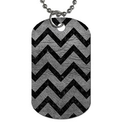 Chevron9 Black Marble & Gray Leather (r) Dog Tag (one Side) by trendistuff