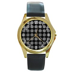 Circles1 Black Marble & Gray Leather Round Gold Metal Watch by trendistuff