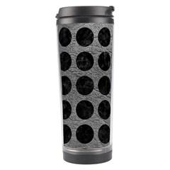 Circles1 Black Marble & Gray Leather (r) Travel Tumbler by trendistuff