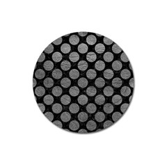 Circles2 Black Marble & Gray Leather Magnet 3  (round) by trendistuff