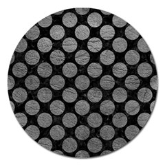 Circles2 Black Marble & Gray Leather Magnet 5  (round) by trendistuff