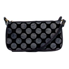 Circles2 Black Marble & Gray Leather Shoulder Clutch Bags by trendistuff