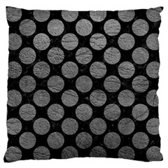 Circles2 Black Marble & Gray Leather Large Cushion Case (two Sides) by trendistuff