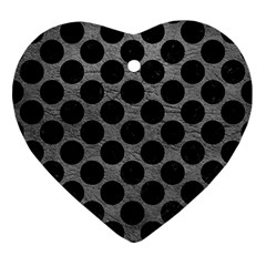 Circles2 Black Marble & Gray Leather (r) Ornament (heart) by trendistuff