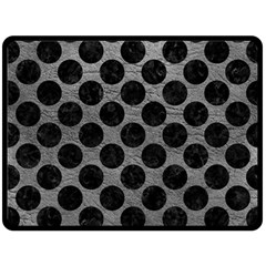 Circles2 Black Marble & Gray Leather (r) Fleece Blanket (large)  by trendistuff