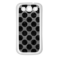 Circles2 Black Marble & Gray Leather (r) Samsung Galaxy S3 Back Case (white) by trendistuff