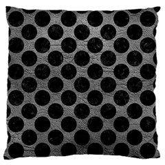 Circles2 Black Marble & Gray Leather (r) Large Flano Cushion Case (one Side) by trendistuff