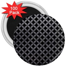 Circles3 Black Marble & Gray Leather 3  Magnets (100 Pack) by trendistuff