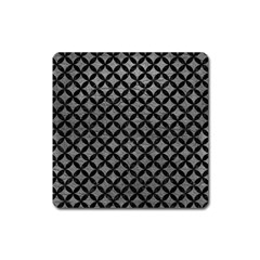 Circles3 Black Marble & Gray Leather (r) Square Magnet by trendistuff
