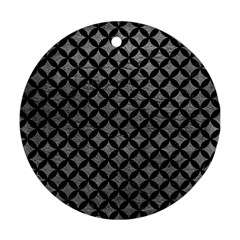 Circles3 Black Marble & Gray Leather (r) Round Ornament (two Sides) by trendistuff