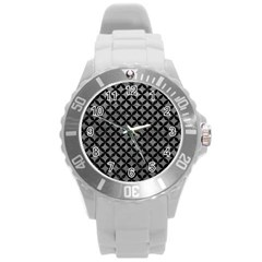 Circles3 Black Marble & Gray Leather (r) Round Plastic Sport Watch (l)