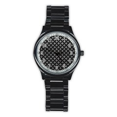Circles3 Black Marble & Gray Leather (r) Stainless Steel Round Watch by trendistuff
