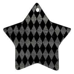 Diamond1 Black Marble & Gray Leather Ornament (star) by trendistuff