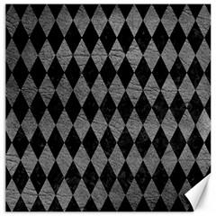 Diamond1 Black Marble & Gray Leather Canvas 12  X 12   by trendistuff