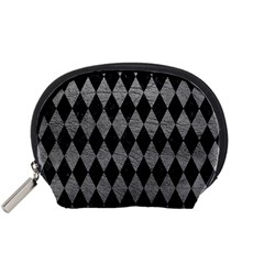 Diamond1 Black Marble & Gray Leather Accessory Pouches (small)  by trendistuff