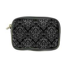 Damask1 Black Marble & Gray Leather Coin Purse by trendistuff