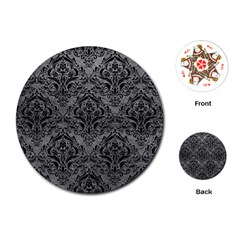Damask1 Black Marble & Gray Leather (r) Playing Cards (round)  by trendistuff