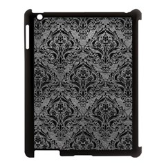 Damask1 Black Marble & Gray Leather (r) Apple Ipad 3/4 Case (black) by trendistuff