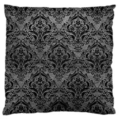 Damask1 Black Marble & Gray Leather (r) Large Flano Cushion Case (two Sides) by trendistuff