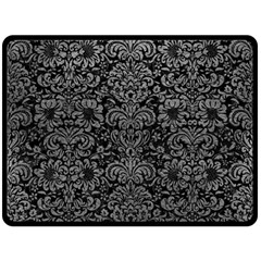Damask2 Black Marble & Gray Leather Double Sided Fleece Blanket (large)  by trendistuff