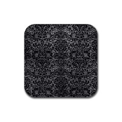 Damask2 Black Marble & Gray Leather (r) Rubber Square Coaster (4 Pack)  by trendistuff