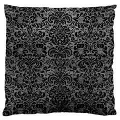 Damask2 Black Marble & Gray Leather (r) Large Cushion Case (two Sides) by trendistuff