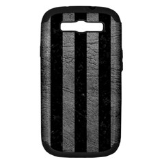 Stripes1 Black Marble & Gray Leather Samsung Galaxy S Iii Hardshell Case (pc+silicone) by trendistuff