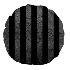 Stripes1 Black Marble & Gray Leather Large 18  Premium Round Cushions by trendistuff