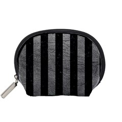 Stripes1 Black Marble & Gray Leather Accessory Pouches (small)  by trendistuff