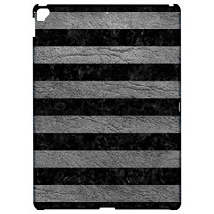 Stripes2 Black Marble & Gray Leather Apple Ipad Pro 12 9   Hardshell Case by trendistuff