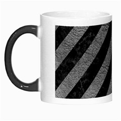 Stripes3 Black Marble & Gray Leather Morph Mugs by trendistuff