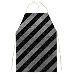 Stripes3 Black Marble & Gray Leather Full Print Aprons by trendistuff