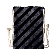 Stripes3 Black Marble & Gray Leather Drawstring Bag (small) by trendistuff
