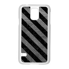 Stripes3 Black Marble & Gray Leather (r) Samsung Galaxy S5 Case (white) by trendistuff