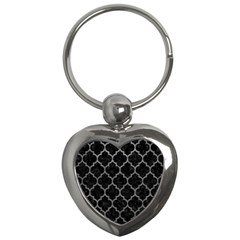 Tile1 Black Marble & Gray Leathertile1 Black Marble & Gray Leather Key Chains (heart)  by trendistuff