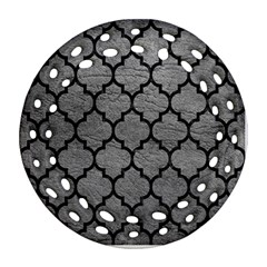 Tile1 Black Marble & Gray Leather (r) Ornament (round Filigree) by trendistuff