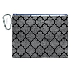 Tile1 Black Marble & Gray Leather (r) Canvas Cosmetic Bag (xxl)