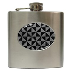 Triangle1 Black Marble & Gray Leather Hip Flask (6 Oz) by trendistuff