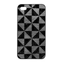 Triangle1 Black Marble & Gray Leather Apple Iphone 4/4s Seamless Case (black) by trendistuff