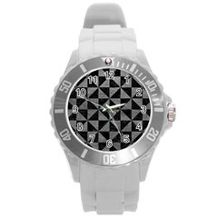 Triangle1 Black Marble & Gray Leather Round Plastic Sport Watch (l)