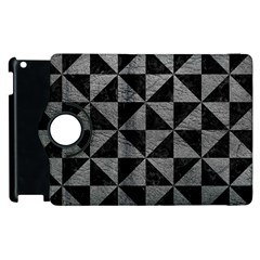 Triangle1 Black Marble & Gray Leather Apple Ipad 3/4 Flip 360 Case by trendistuff