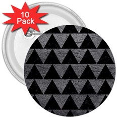 Triangle2 Black Marble & Gray Leather 3  Buttons (10 Pack)  by trendistuff