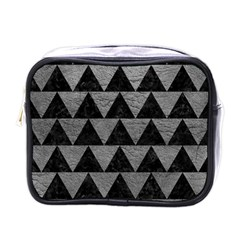 Triangle2 Black Marble & Gray Leather Mini Toiletries Bags by trendistuff
