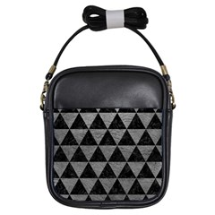 Triangle3 Black Marble & Gray Leather Girls Sling Bags by trendistuff