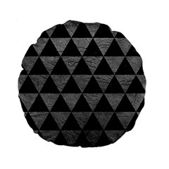 Triangle3 Black Marble & Gray Leather Standard 15  Premium Flano Round Cushions by trendistuff