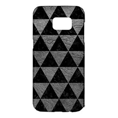 Triangle3 Black Marble & Gray Leather Samsung Galaxy S7 Edge Hardshell Case by trendistuff