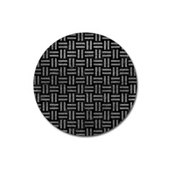 Woven1 Black Marble & Gray Leather Magnet 3  (round) by trendistuff