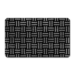 Woven1 Black Marble & Gray Leather Magnet (rectangular) by trendistuff