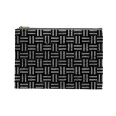 Woven1 Black Marble & Gray Leather Cosmetic Bag (large)  by trendistuff
